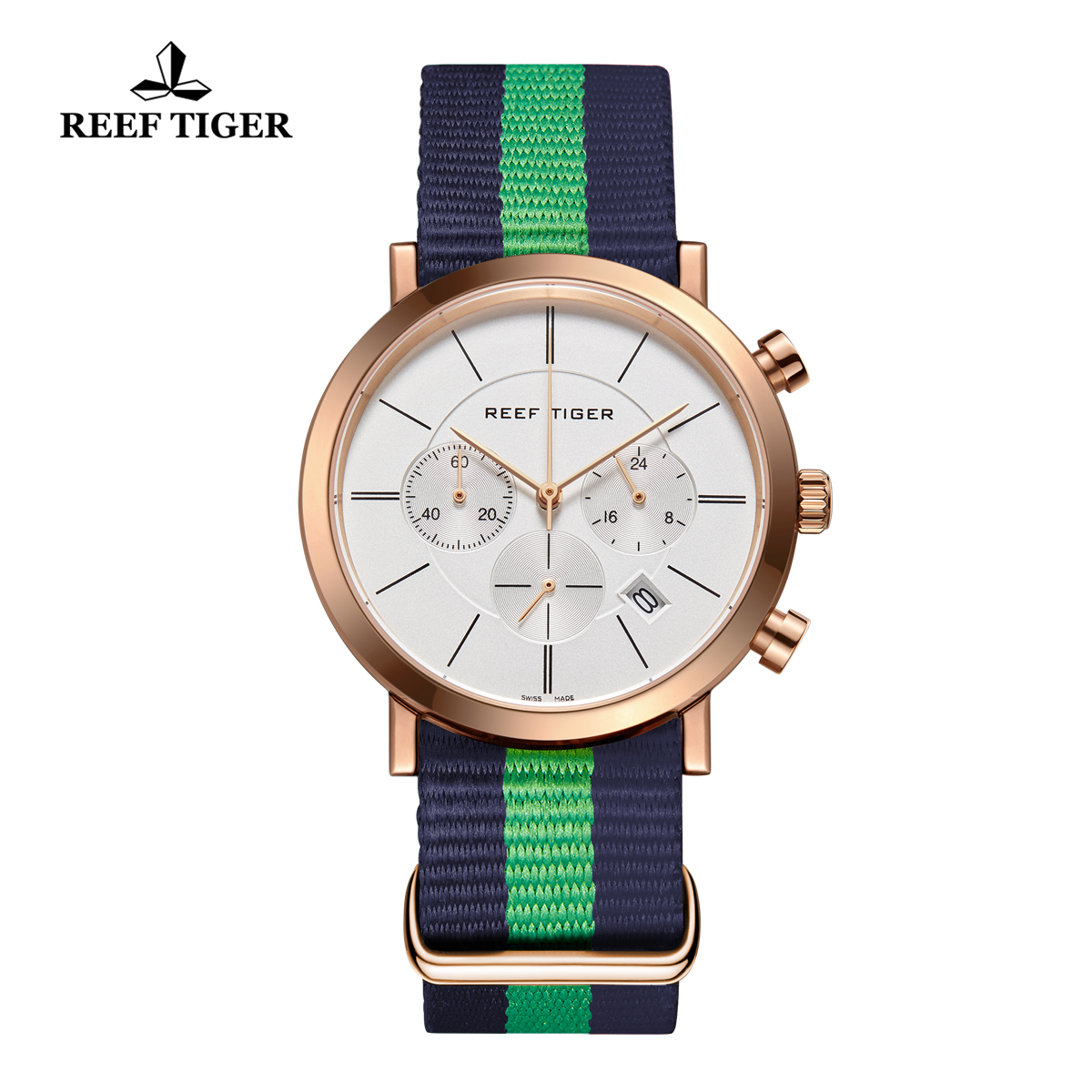 Reef Tiger Business Watch Ultra Thin Rose Gold White Dial Chronograph Quartz Watch RGA162-PWLNL
