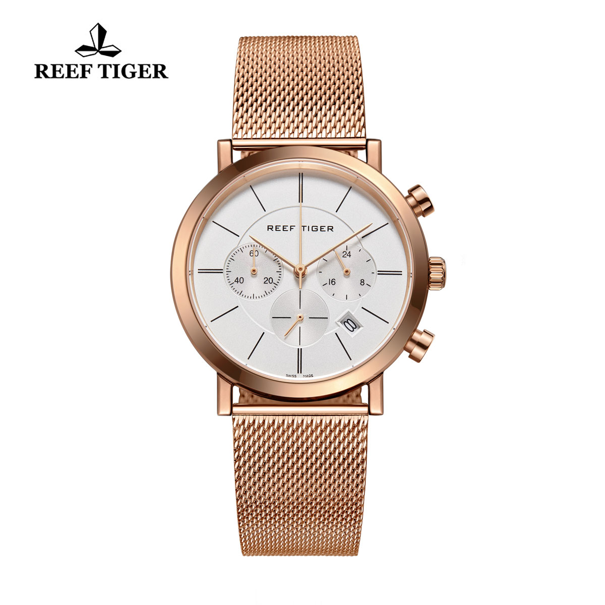 Reef Tiger Business Watch Ultra Thin Rose Gold White Dial Chronograph Quartz Watch RGA162-PWP
