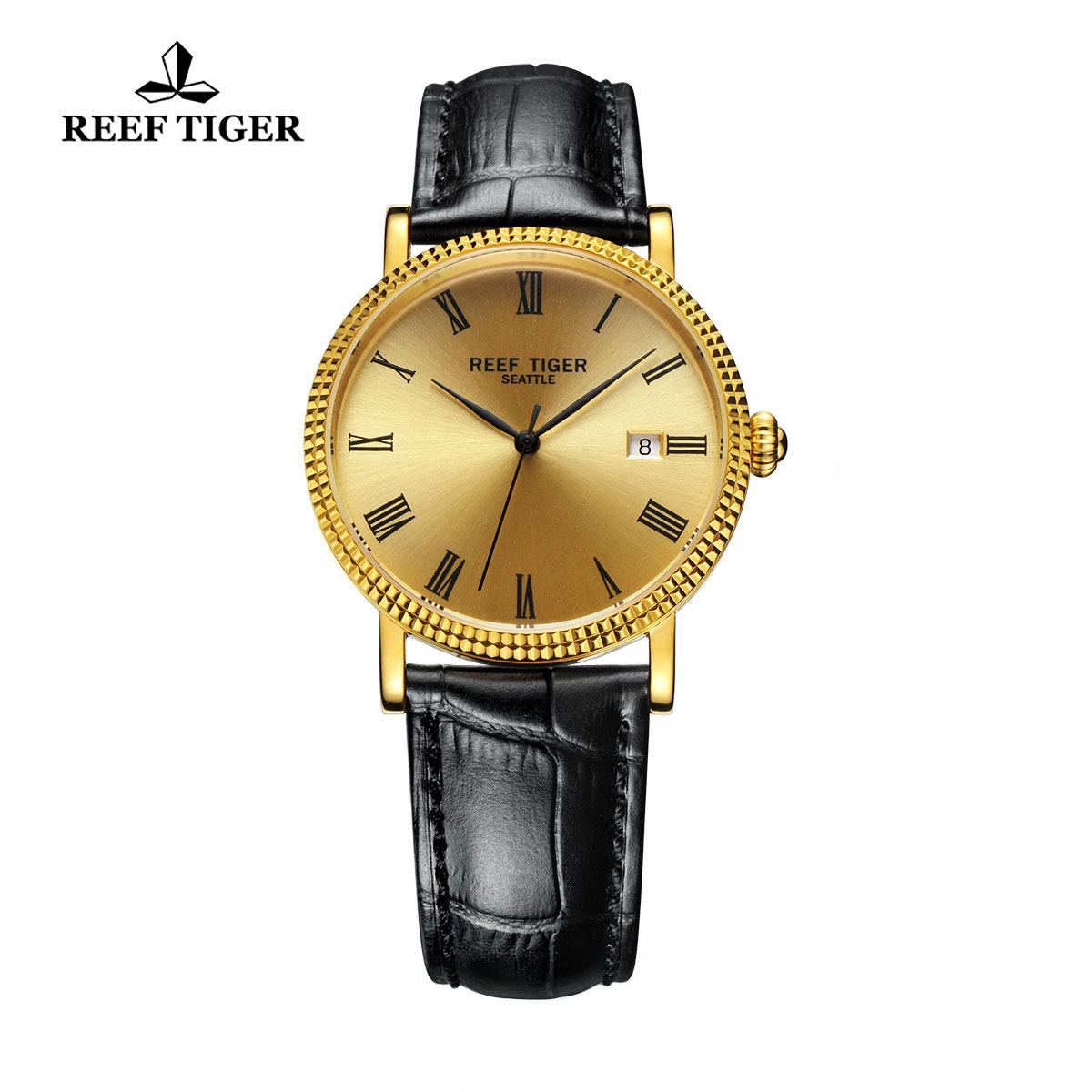 Reef Tiger Dress Watch Yellow Gold Champagne Dial Leather Strap Automatic Watch RGA163-GPB