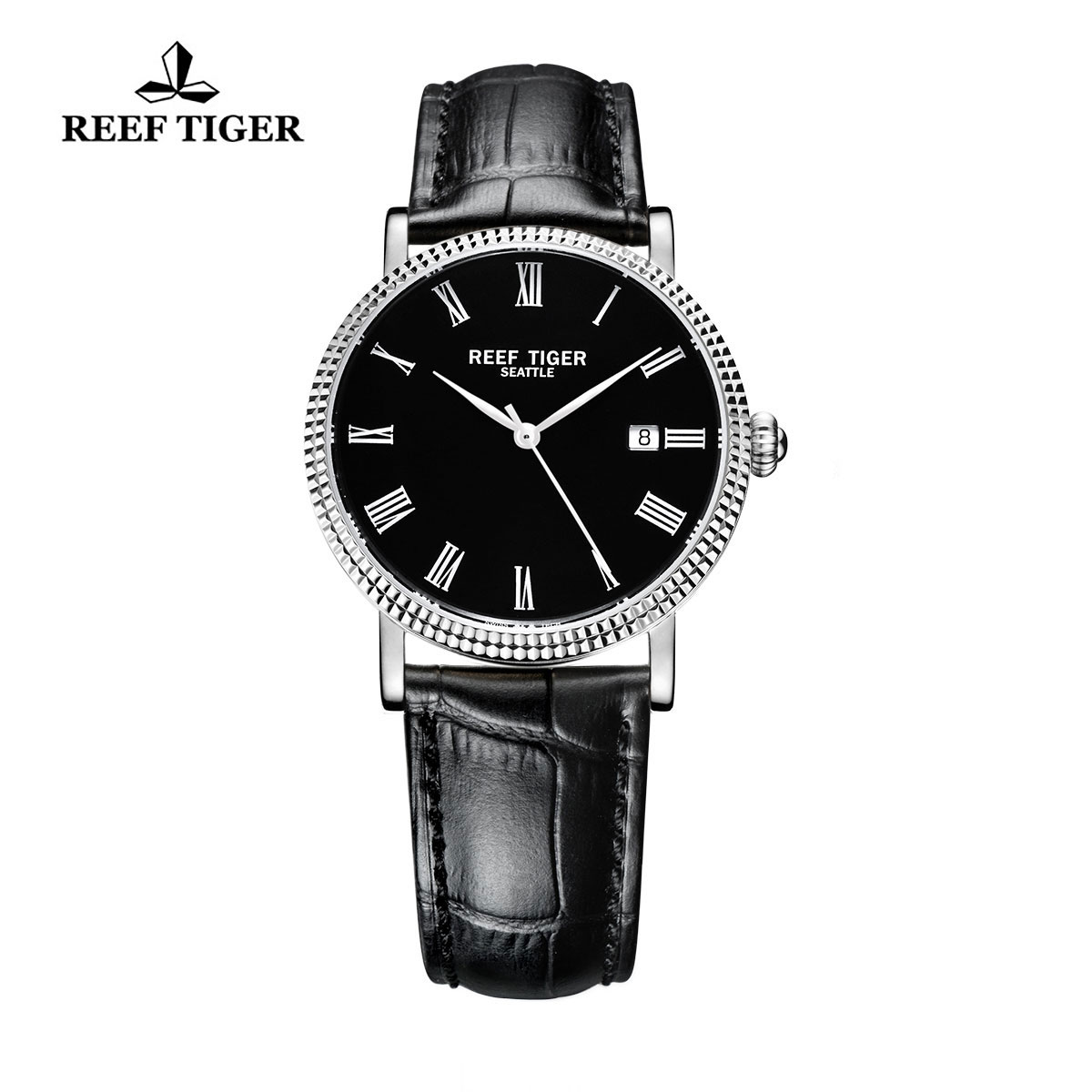 Reef Tiger Dress Watch Steel Black Dial Leather Strap Automatic Watch RGA163-YBB