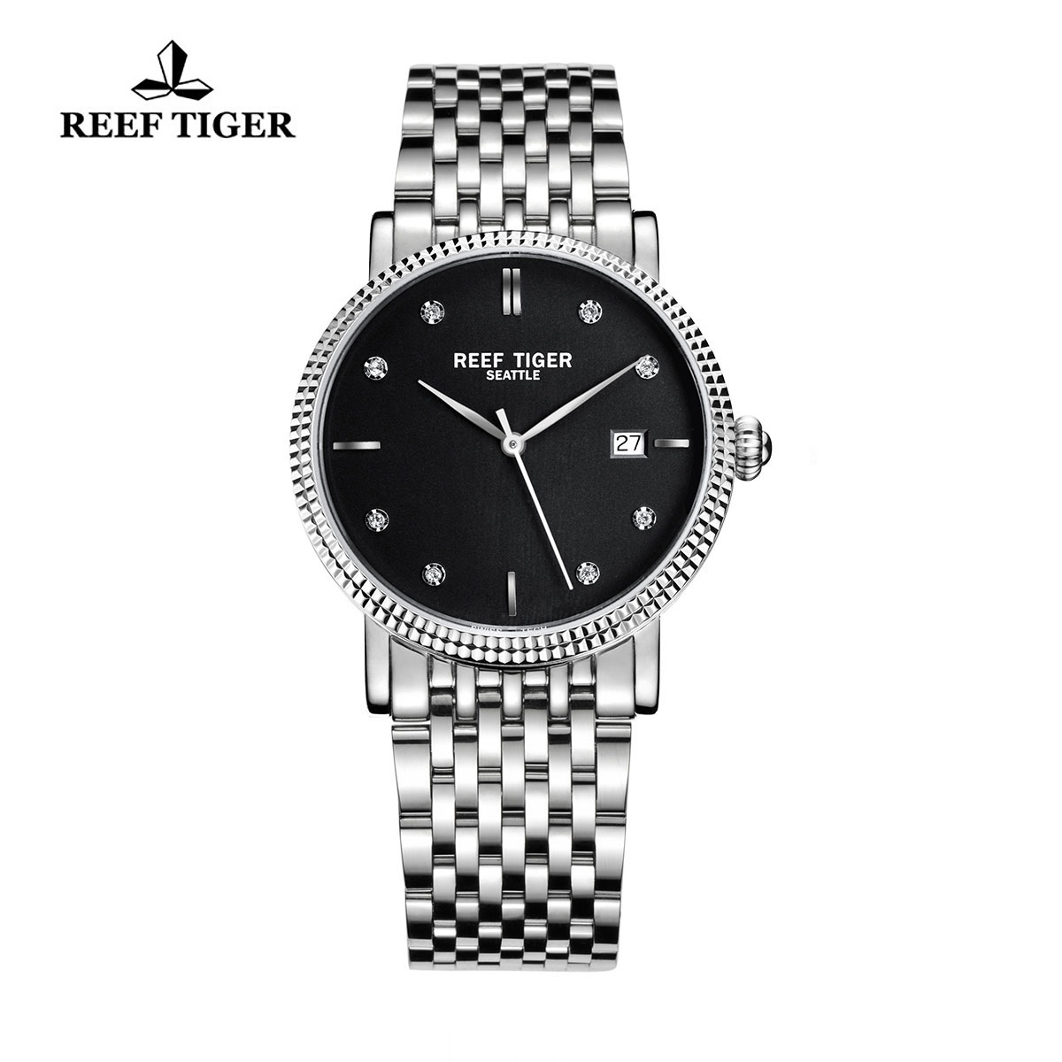 Reef Tiger Dress Watch Steel Black Dial Steel Bracelet Automatic Watch RGA163-YBYD