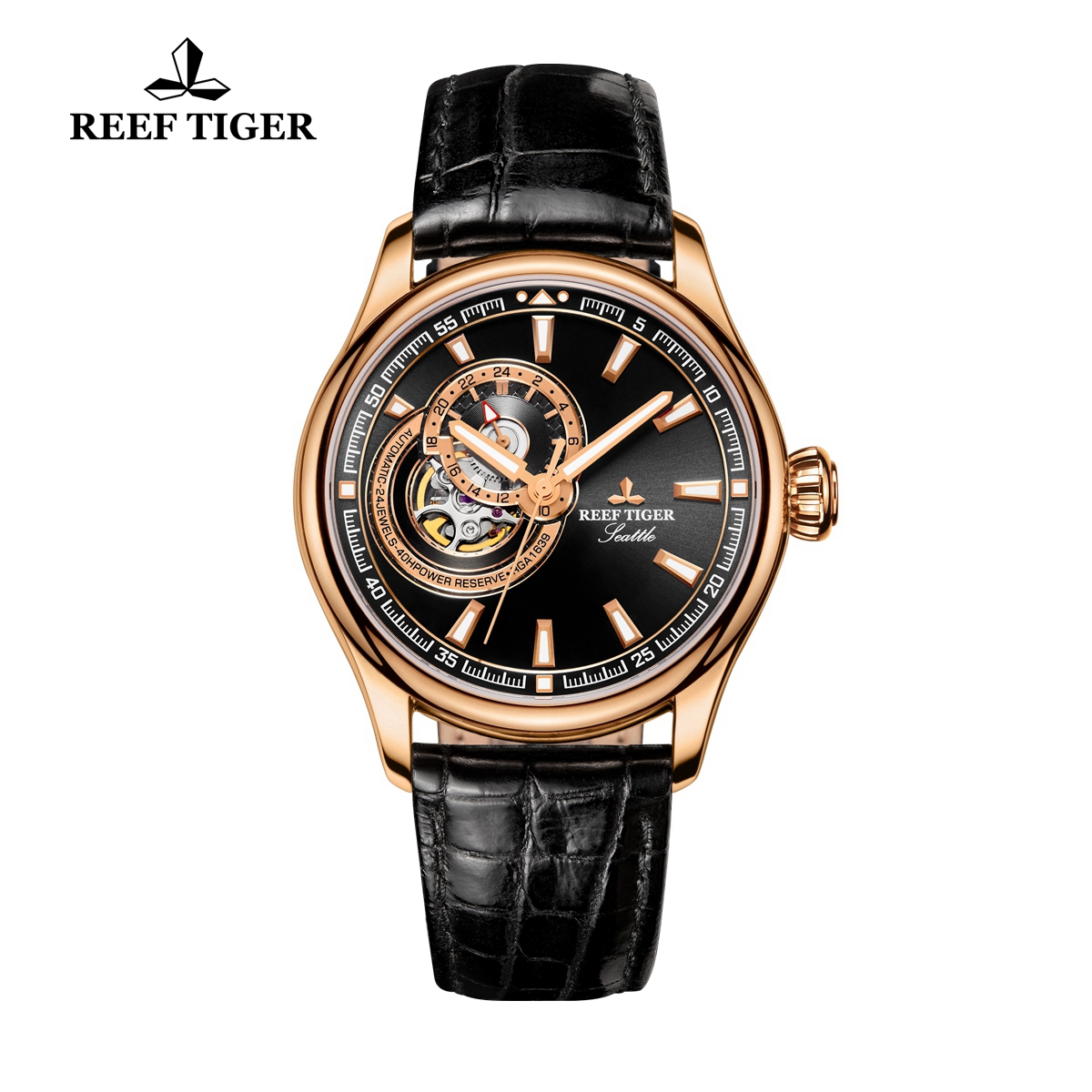 Reef Tiger Seattle Sea Hawk Dress Automatic Watch Rose Gold Black Dial Black Leather Strap RGA1639-PBB