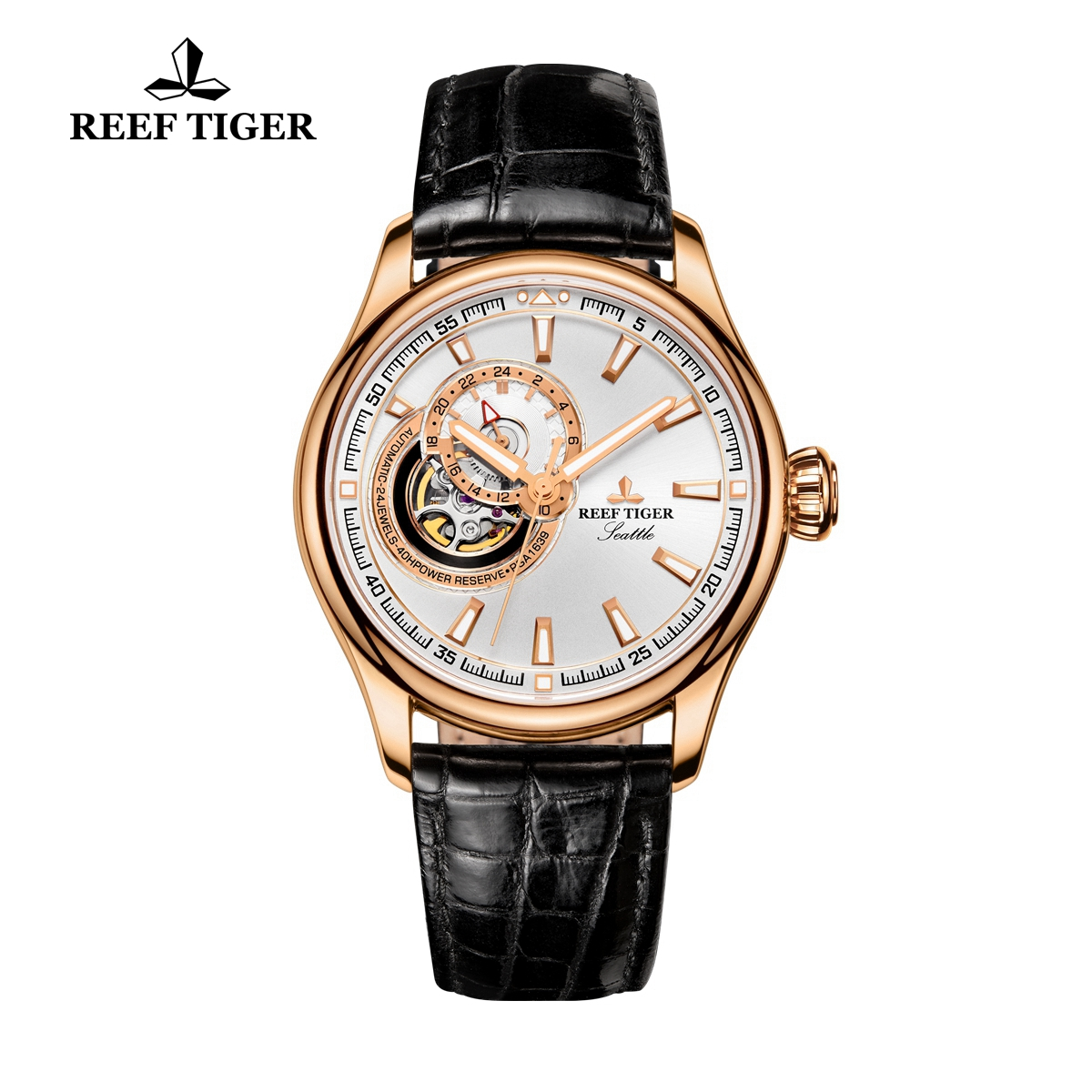 Reef Tiger Seattle Sea Hawk Dress Automatic Watch Rose Gold White Dial Black Leather Strap RGA1639-PWBS
