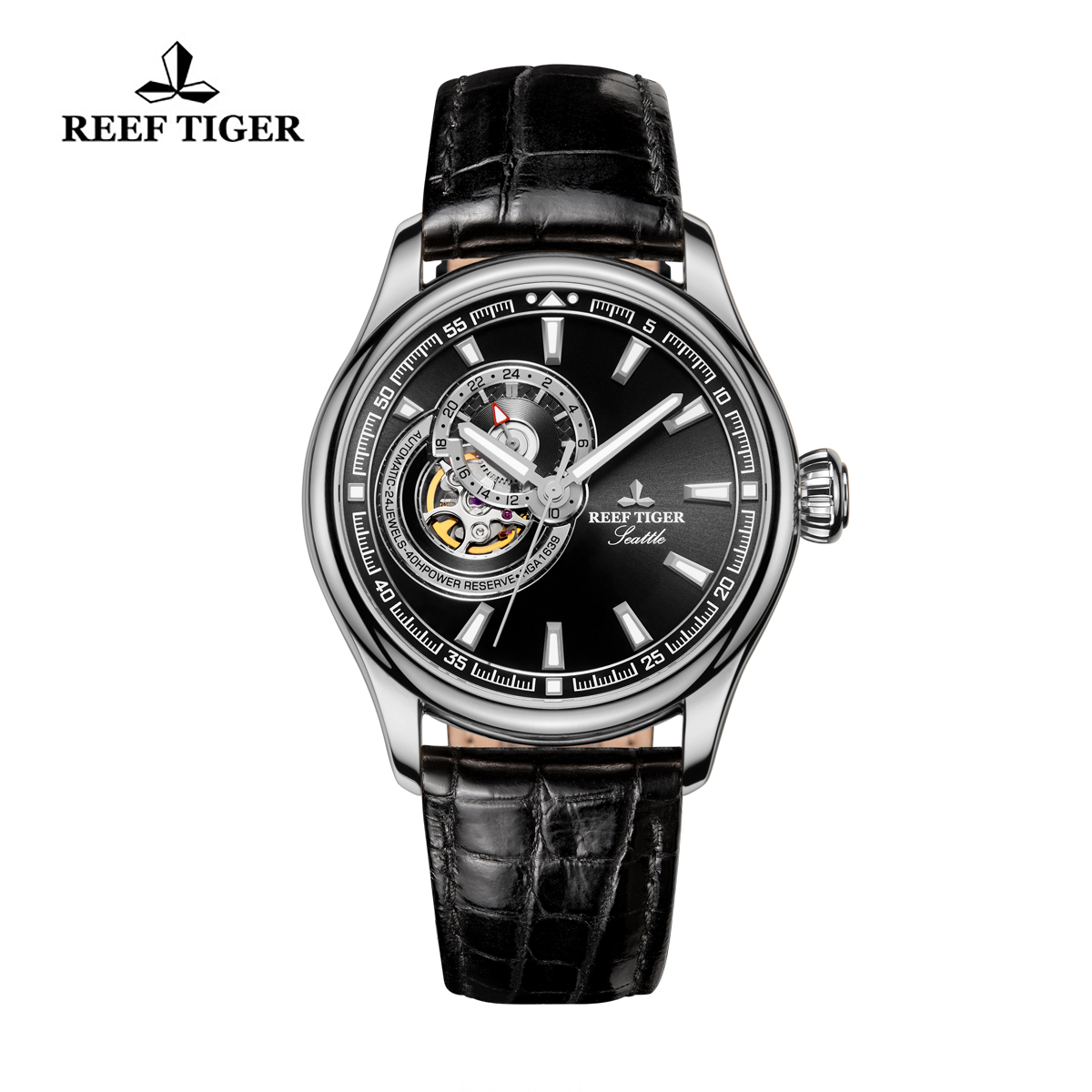 Reef Tiger Seattle Sea Hawk Dress Automatic Watch Steel Black Dial Black Leather Strap RGA1639-YBB