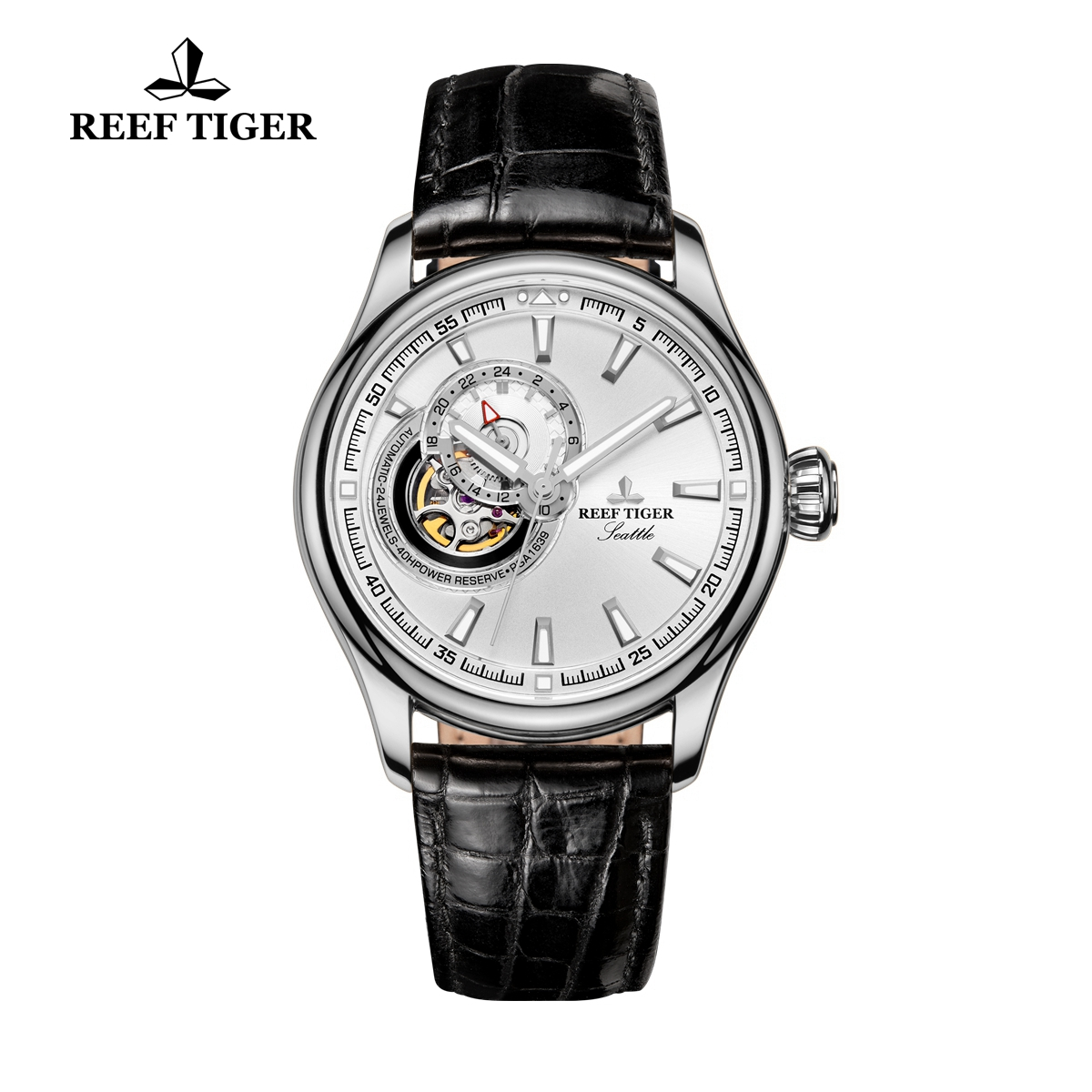 Reef Tiger Seattle Sea Hawk Dress Automatic Watch Steel White Dial Black Leather Strap RGA1639-YWBS