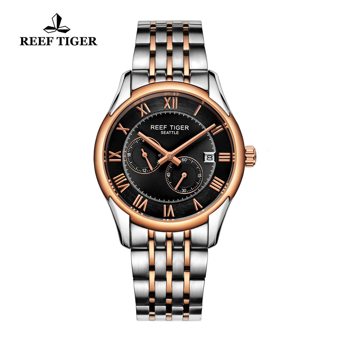 Reef Tiger Business Watch Rose Gold/Steel Black Dial Automatic Watch RGA165-TBT
