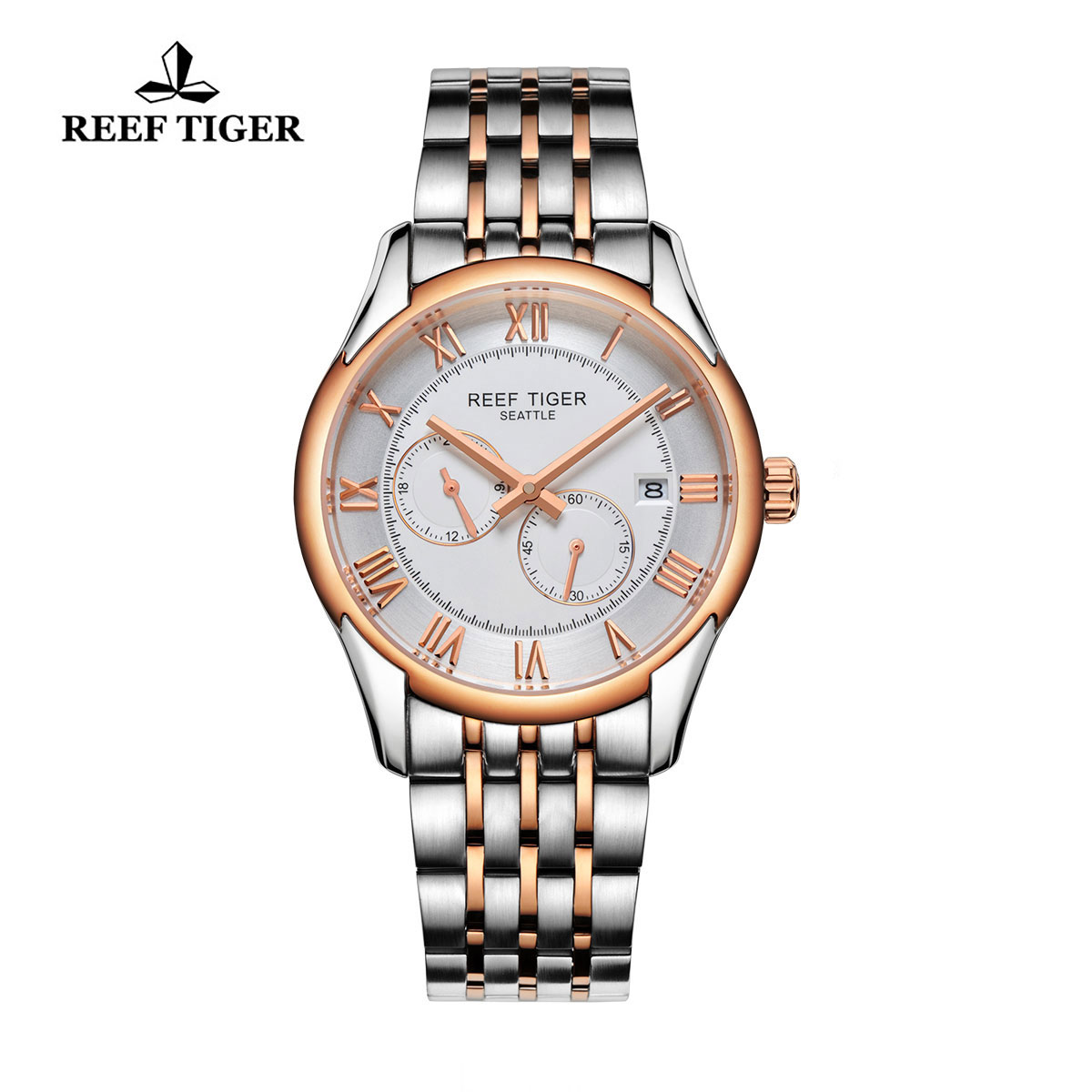 Reef Tiger Business Watch Rose Gold/Steel White Dial Automatic Watch RGA165-TWT