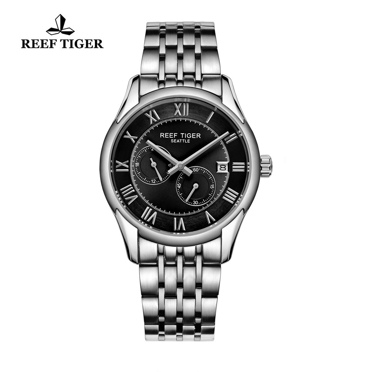 Reef Tiger Business Watch Stainless Steel Black Dial Automatic Watch RGA165-YBY