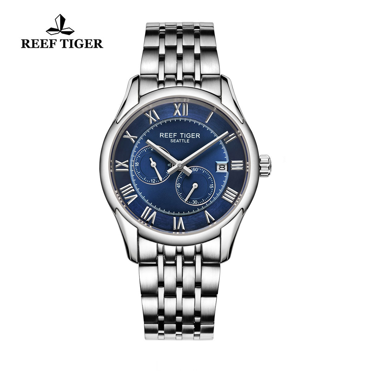 Reef Tiger Business Watch Stainless Steel Black Dial Automatic Watch RGA165-YLY