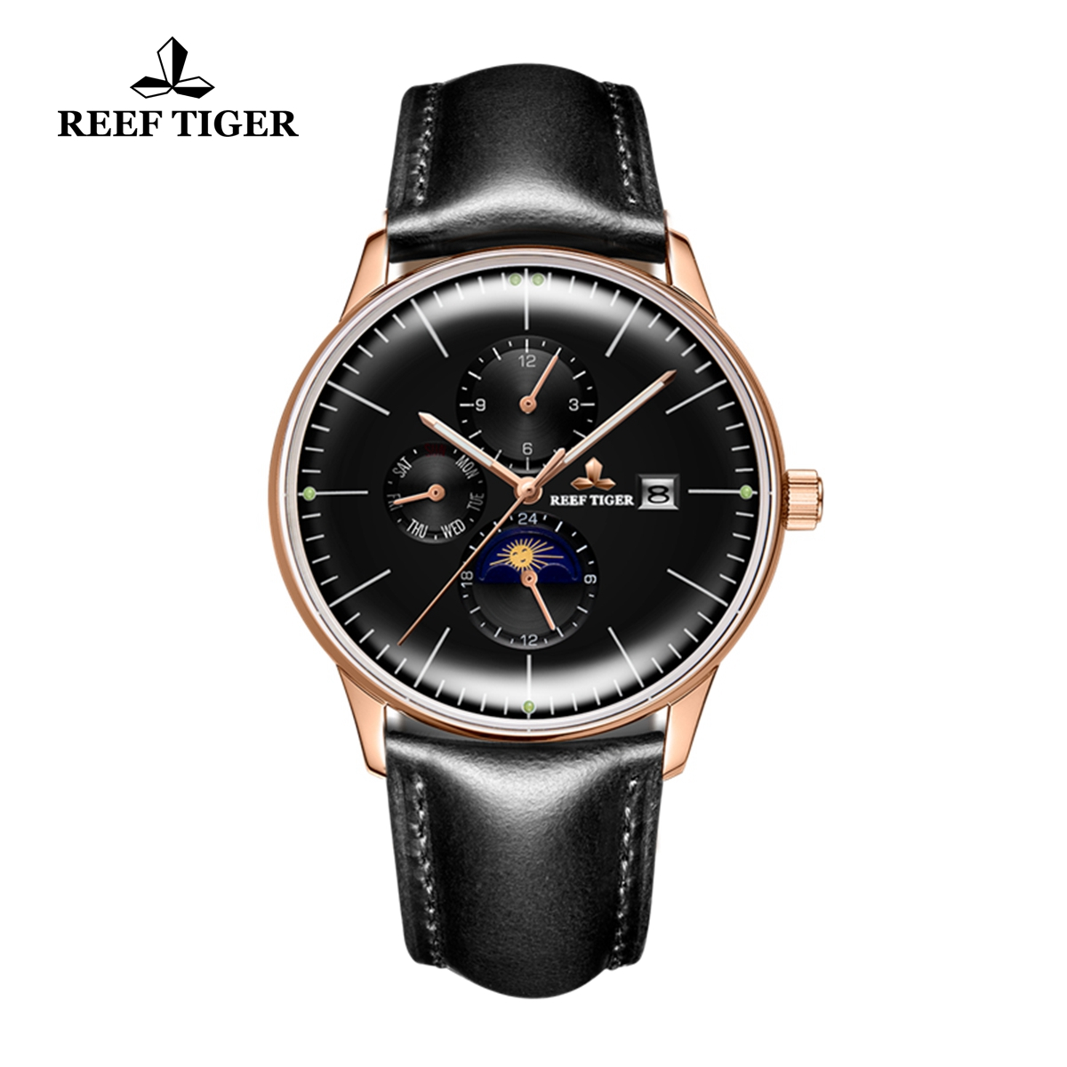 Reef Tiger Seattle Philosopher Rose Gold Silky Leather Strap Automatic Watches with Date Day RGA1653-PBBH