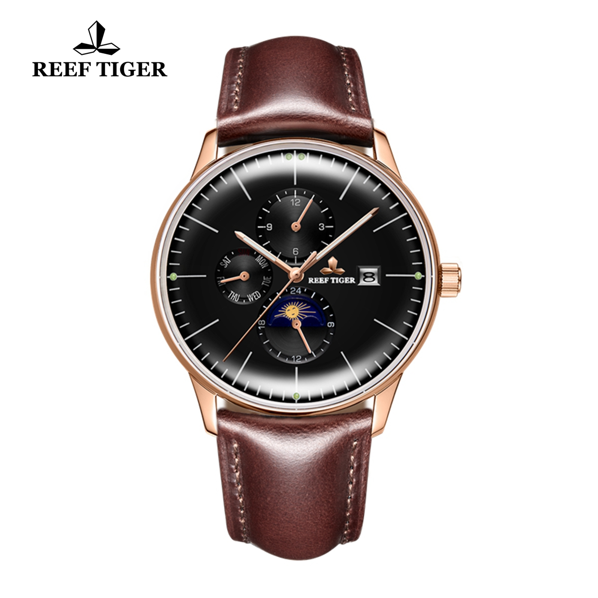 Reef Tiger Seattle Philosopher Luxury Black Dial Silky Leather Strap Automatic Watches with Date Day RGA1653-PBSH