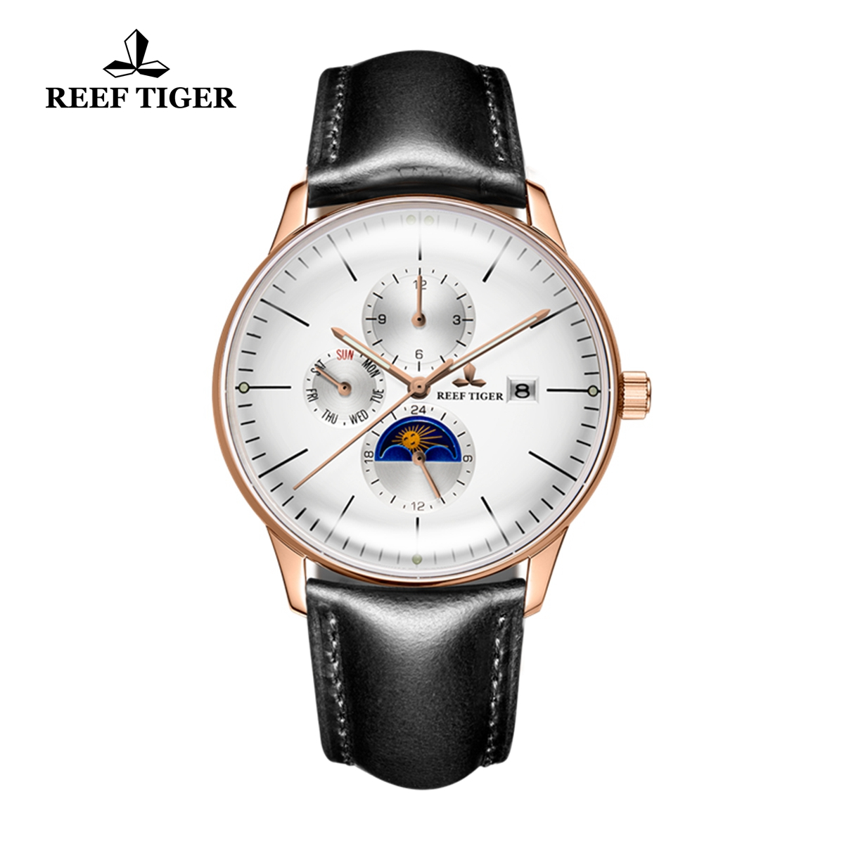 Reef Tiger Seattle Philosopher Rose Gold Black Dial Moon Phase Automatic Watches with Date Day RGA1653-PWBH