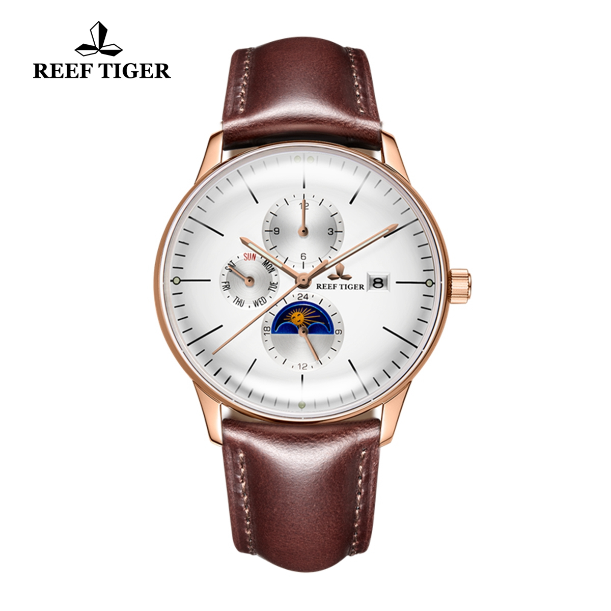 Reef Tiger Seattle Philosopher Rose Gold White Dial Leather Strap Automatic Watches with Date Day RGA1653-PWSH