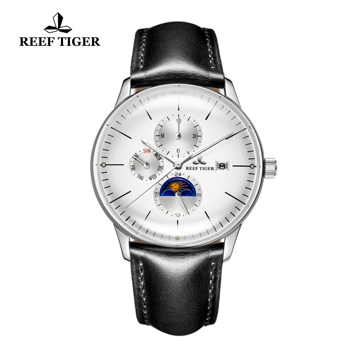 Reef Tiger Seattle Philosopher Casual Men Watches White Dial Automatic Watch with Date Day RGA1653-YWBH
