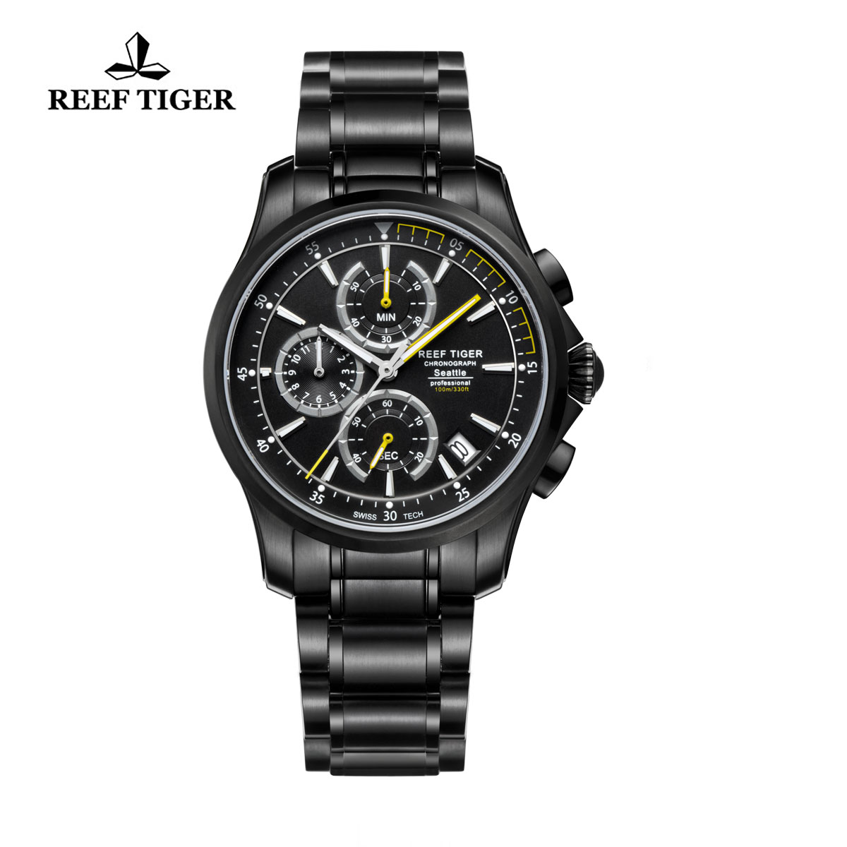 Reef Tiger Sports Watch Black DLC Black Dial DLC Bracelet Chronograph Watch RGA1663-BBBG