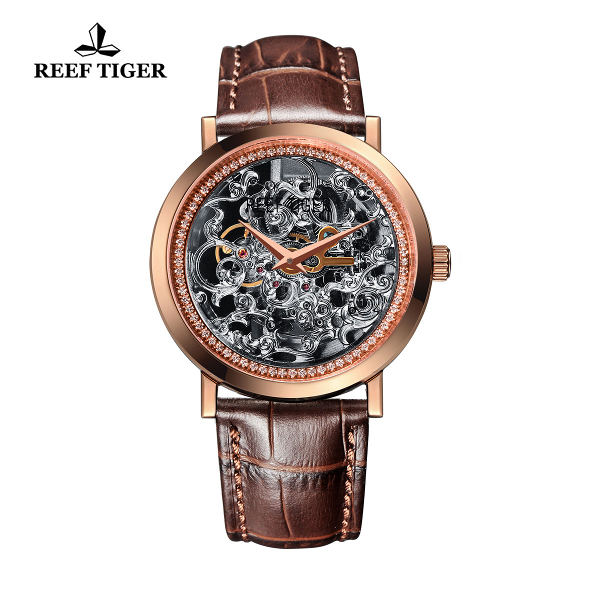 Reef Tiger Casual Watch Rose Gold Skeleton Dial Automatic Watch RGA168-PSS