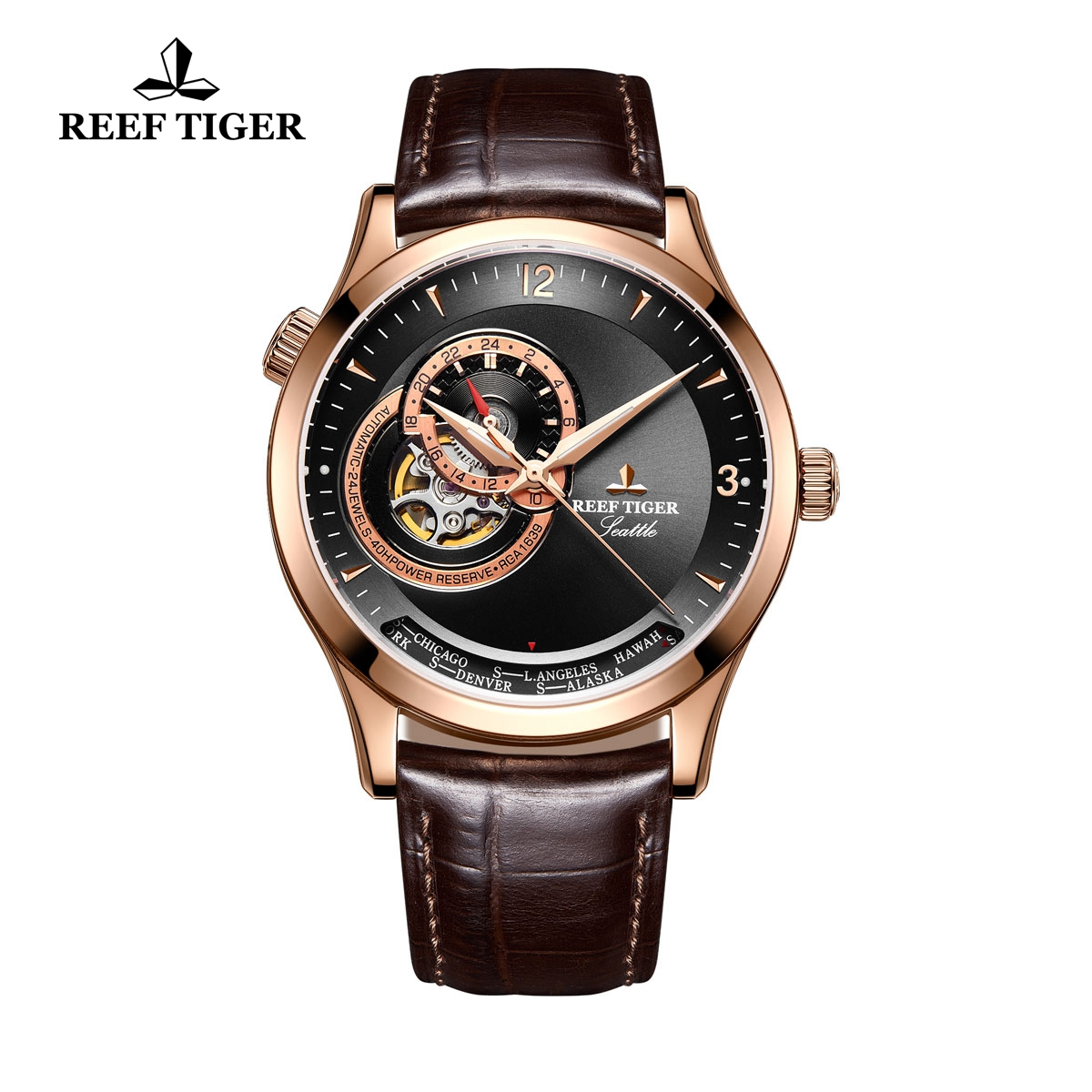 Reef Tiger Seattle Sailing Rose Gold Dress Automatic Watch Black Dial Brown Leather Strap RGA1693-PBS