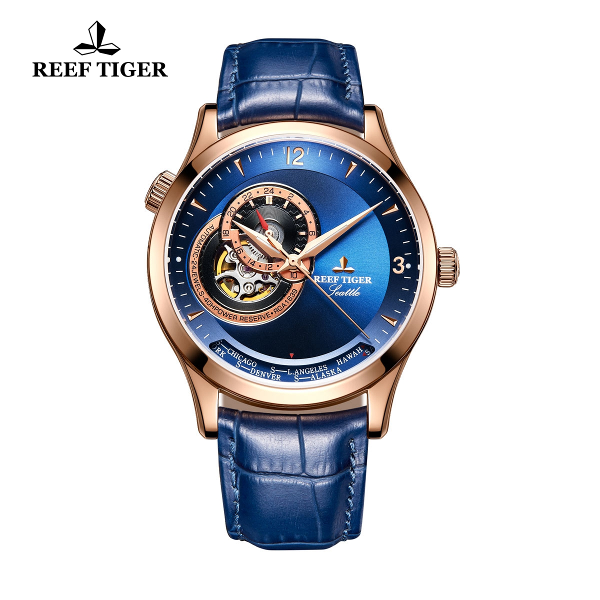 Reef Tiger Seattle Sailing Rose Gold Blue Dial Watch With Tourbillon Automatic Watch RGA1693-PLL
