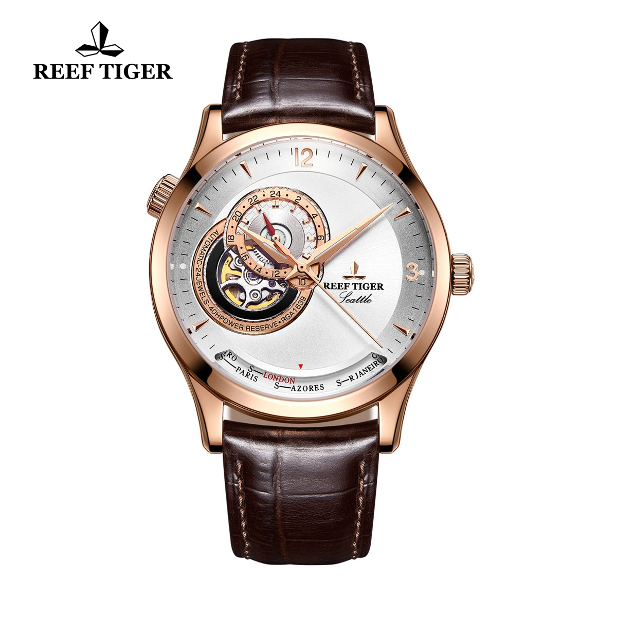 Reef Tiger Seattle Sailing Rose Gold Brown Leather Watch With Tourbillon Automatic Watch RGA1693-PWS