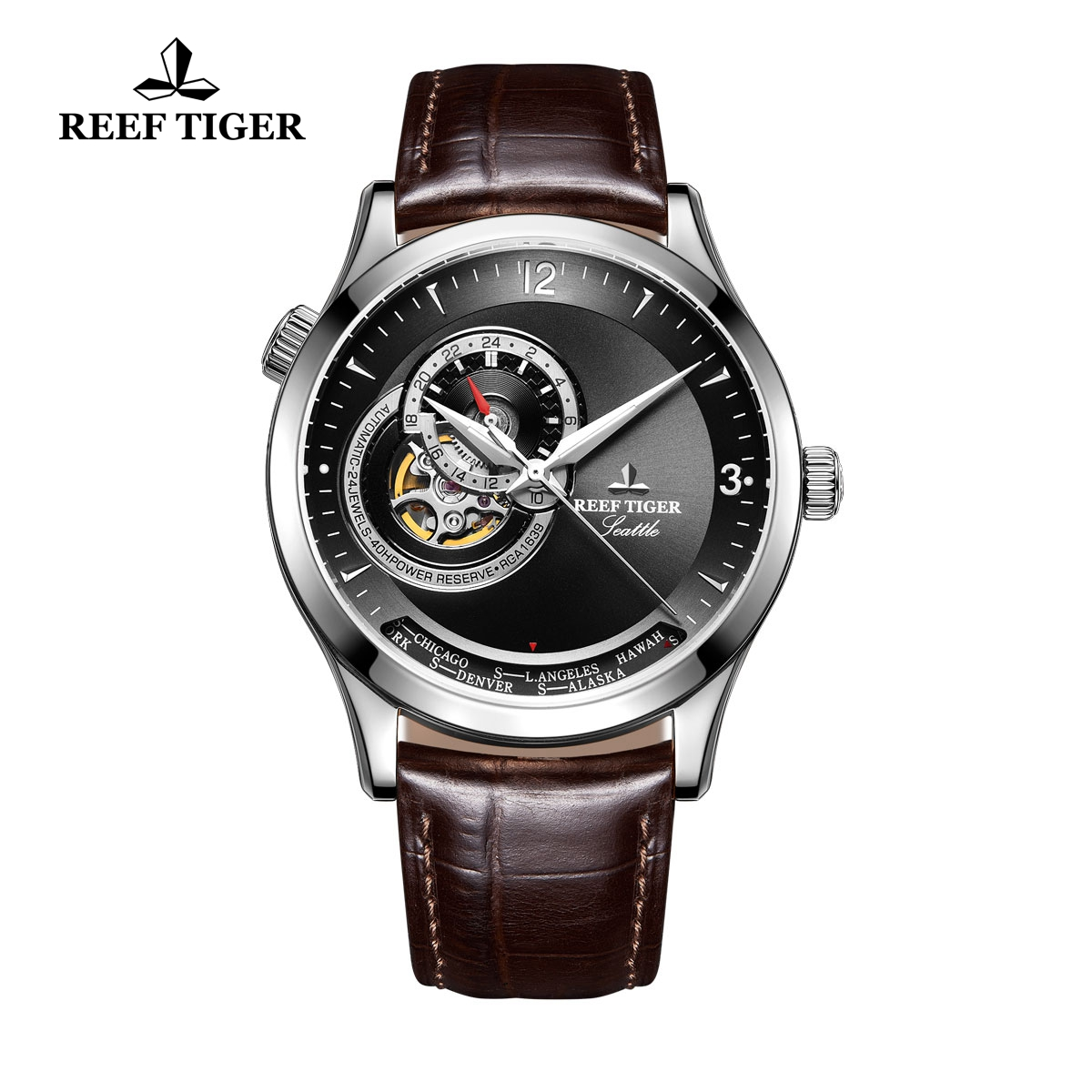 Reef Tiger Seattle Sailing Brown Leather Watch With Tourbillon Steel Automatic Watch RGA1693-YBS