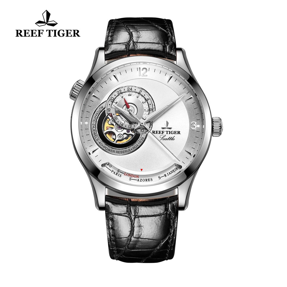 Reef Tiger Seattle Sailing White Dial Steel Watch With Tourbillon Automatic Watch RGA1693-YWB