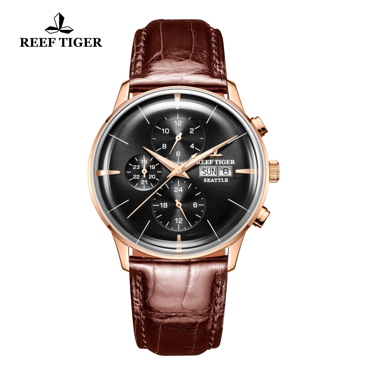 Reef Tiger Seattle Chief Fashion Rose Gold Black Dial Leather Strap Automatic Watch RGA1699-PBS