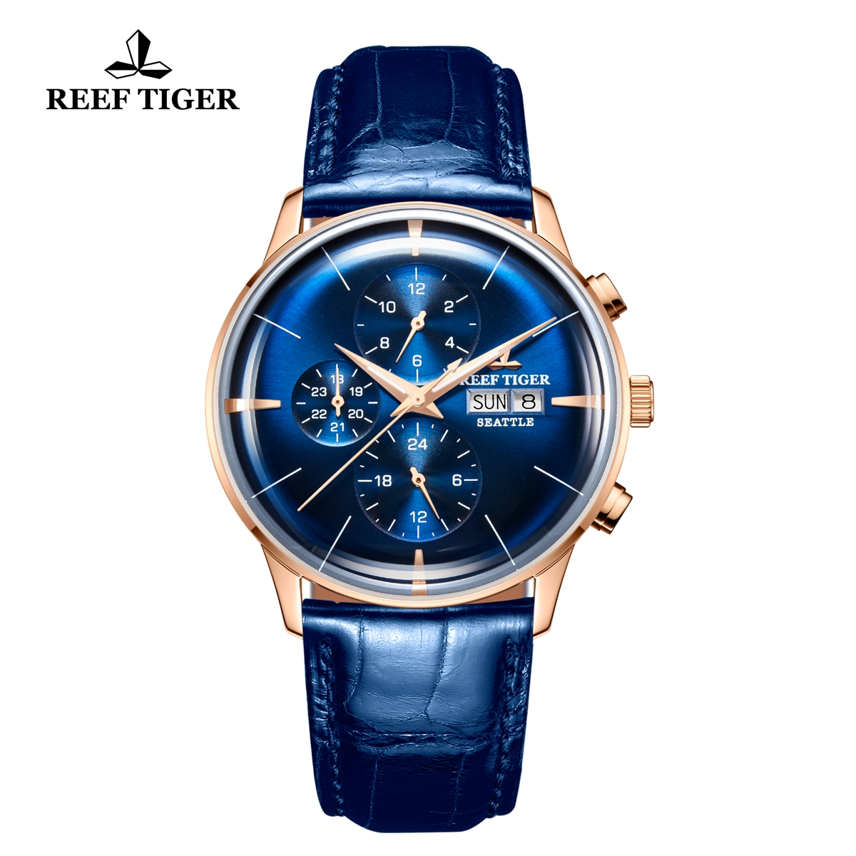 Reef Tiger Seattle Chief Fashion Rose Gold Blue Dial Leather Strap Automatic Watch RGA1699-PLL