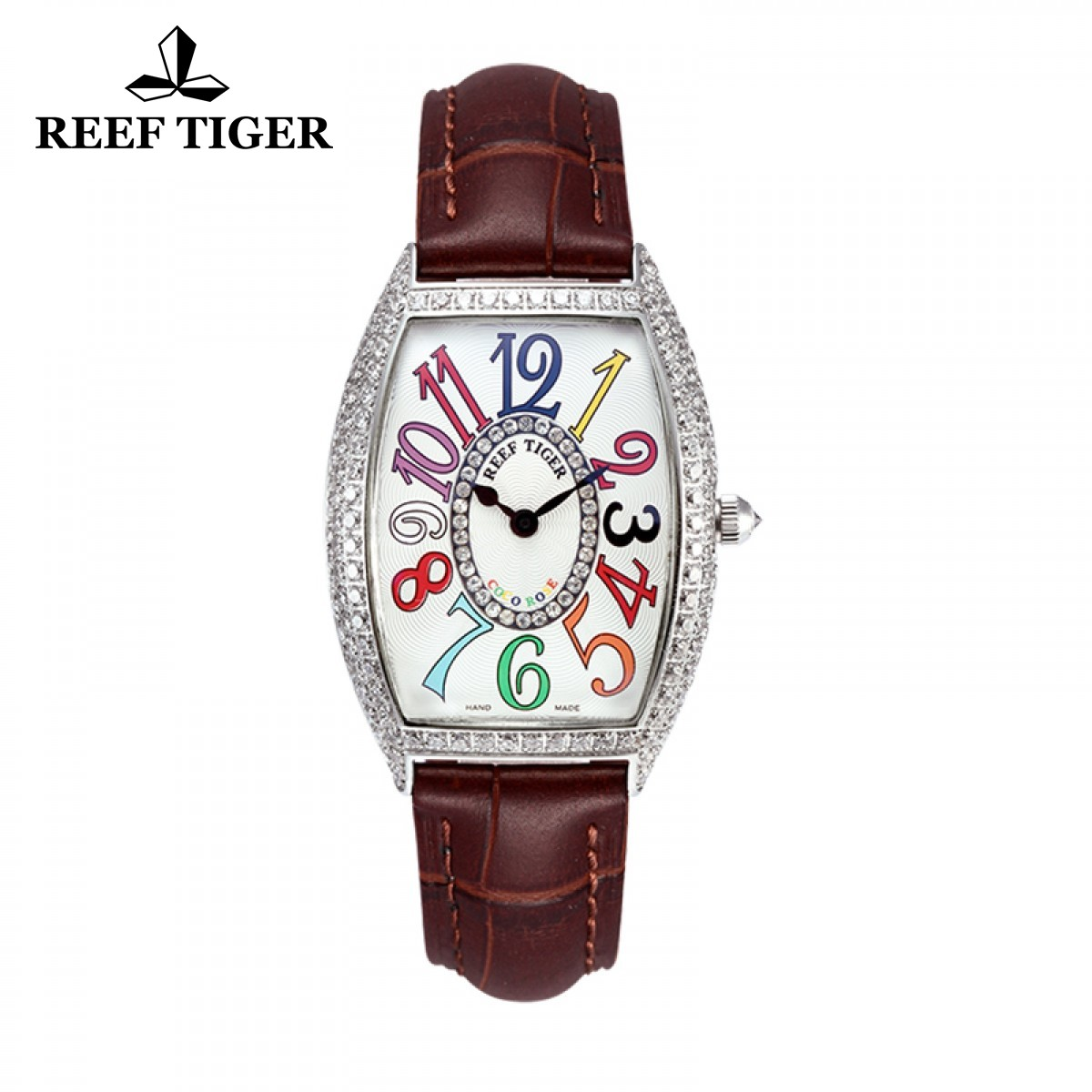 Reef Tiger Lady Fashion Watch Steel Case White Dial Leather Strap Diamonds Tonneau Watch RGA171-YWBD