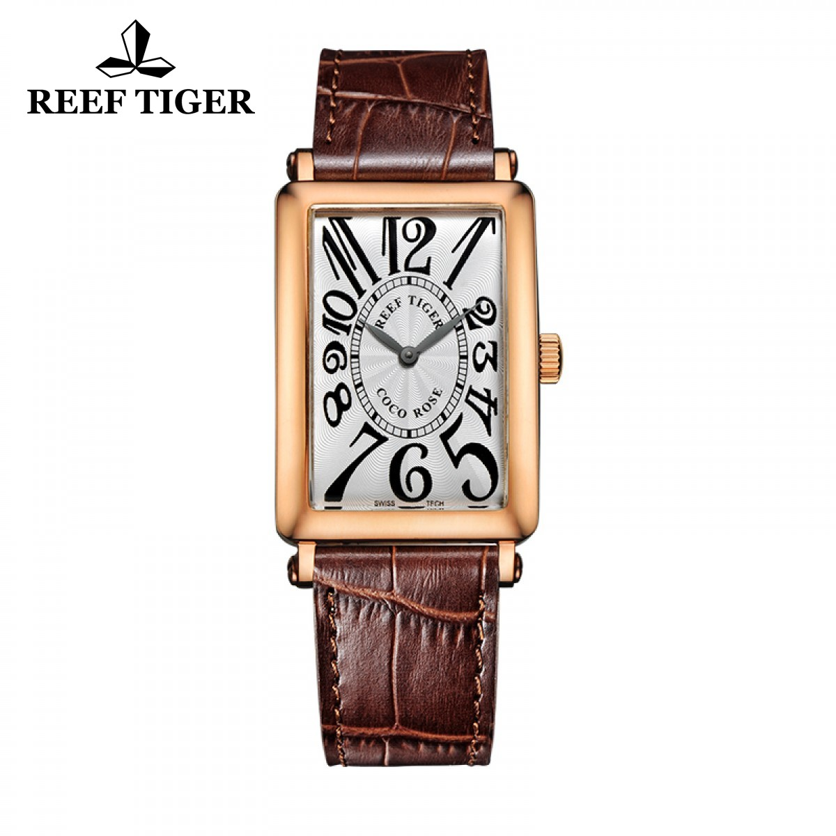 Reef Tiger Lady Fashion Watch Rose Gold Case White Dial Leather Strap Watch RGA172-PWSA