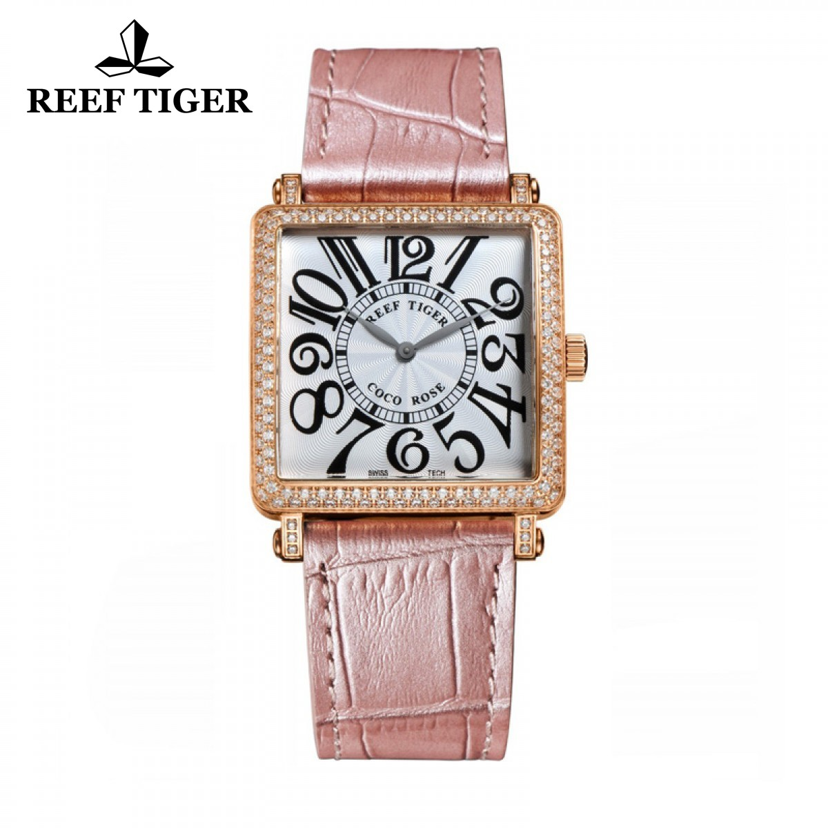 Reef Tiger Lady Fashion Watch Rose Gold Case White Dial Diamonds Square Watch RGA173-PWSDA