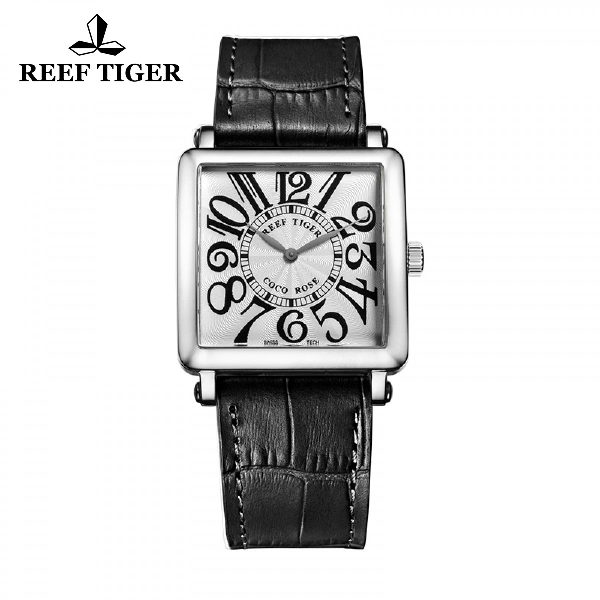 Reef Tiger Lady Fashion Watch Steel Case White Dial Black Leather Square Watch RGA173-YWBA