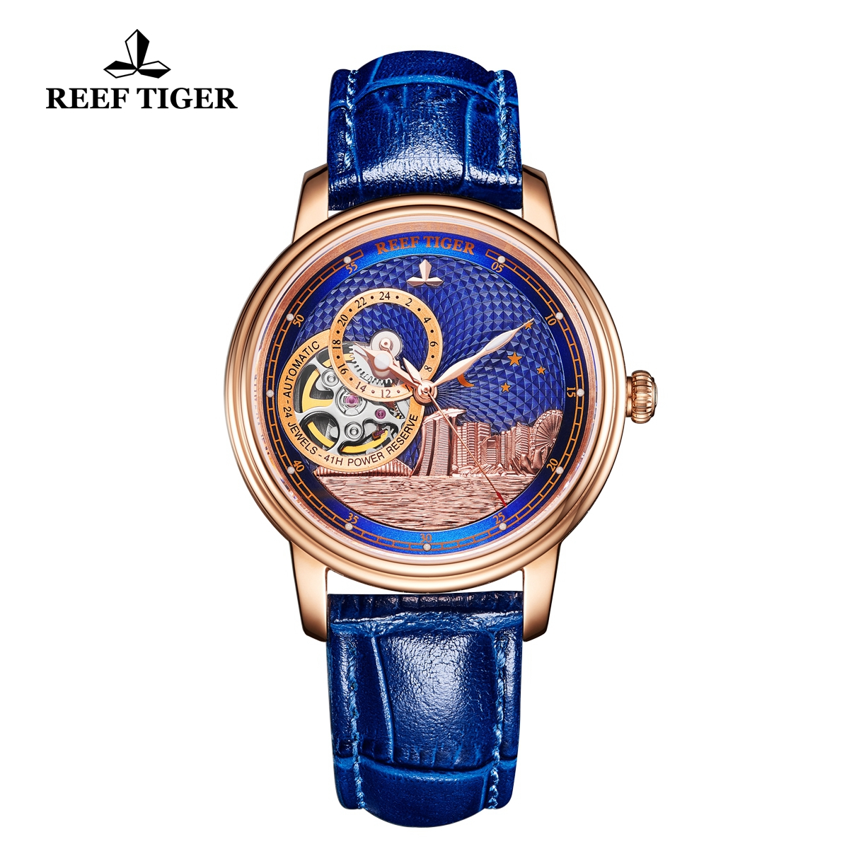 Reef Tiger Seattle Singapore Fashion Rose Gold Blue Dial Leather Strap Automatic Watch RGA1739-PLL