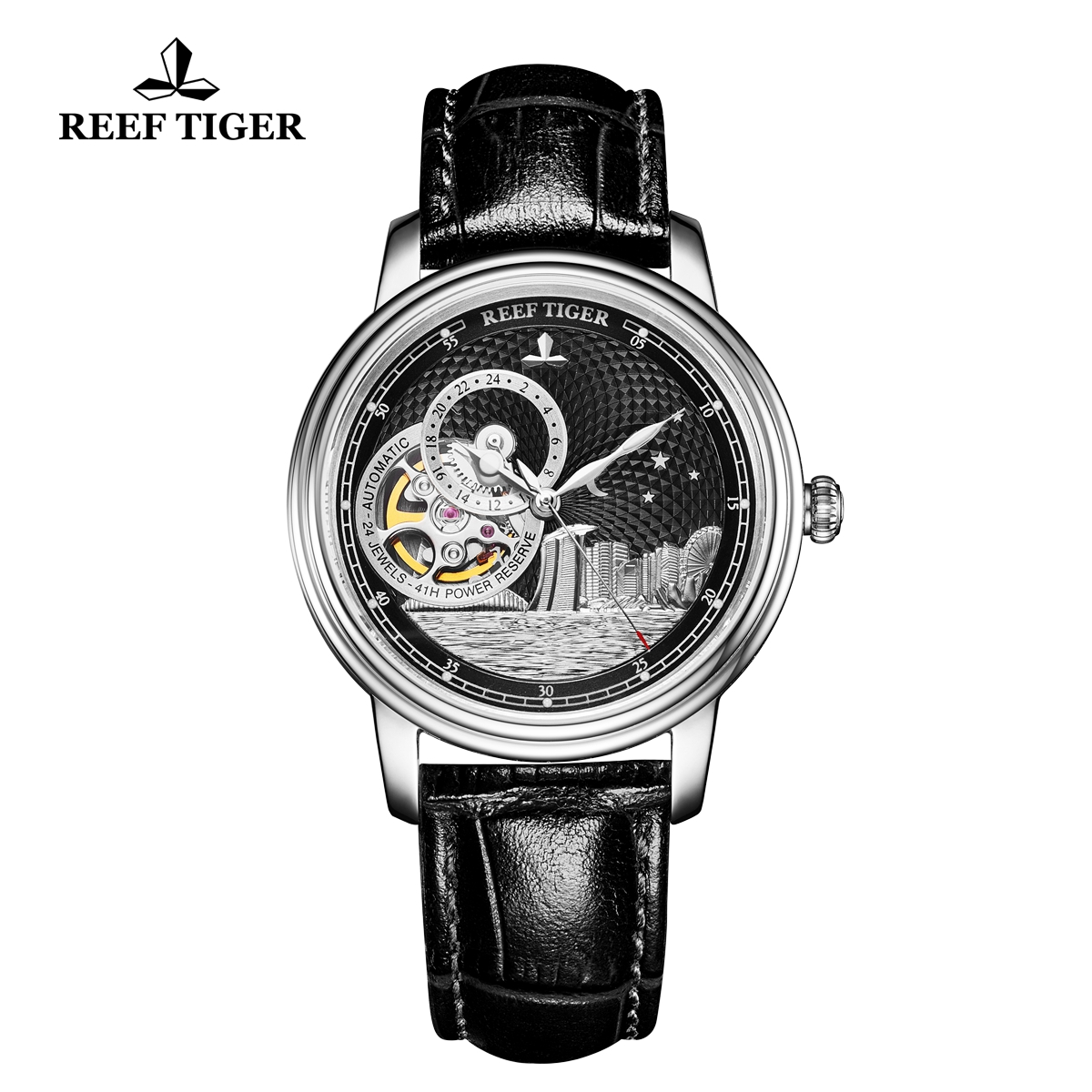 Reef Tiger Seattle Singapore Fashion Steel Black Dial Leather Strap Automatic Watch RGA1739-YBB