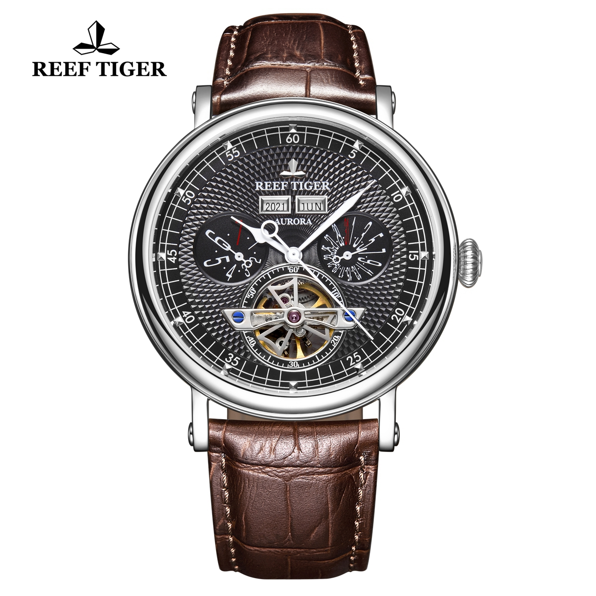 Reef Tiger Artist Limner Mens Fashion Steel Black Dial Leather Strap Automatic Watch RGA1903-YBS