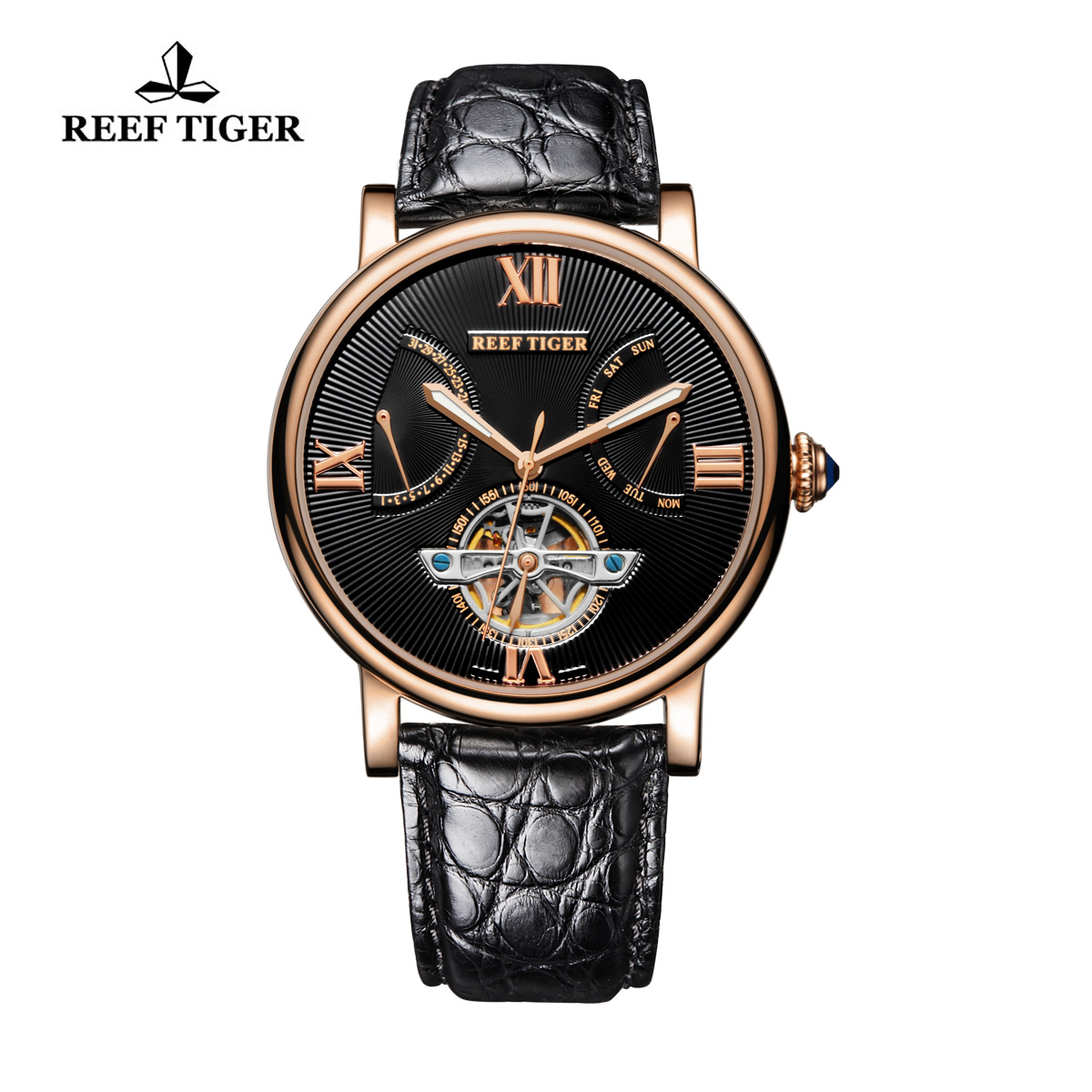 Reef Tiger Luxury Tourbillon Watch with Day Date Black Dial Alligator Strap RGA191