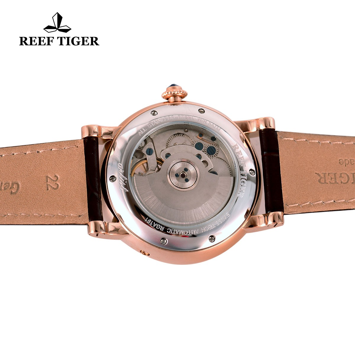Reef Tiger Carved Spiral Tourbillon Watch with Day Date White Dial Alligator Strap RGA191