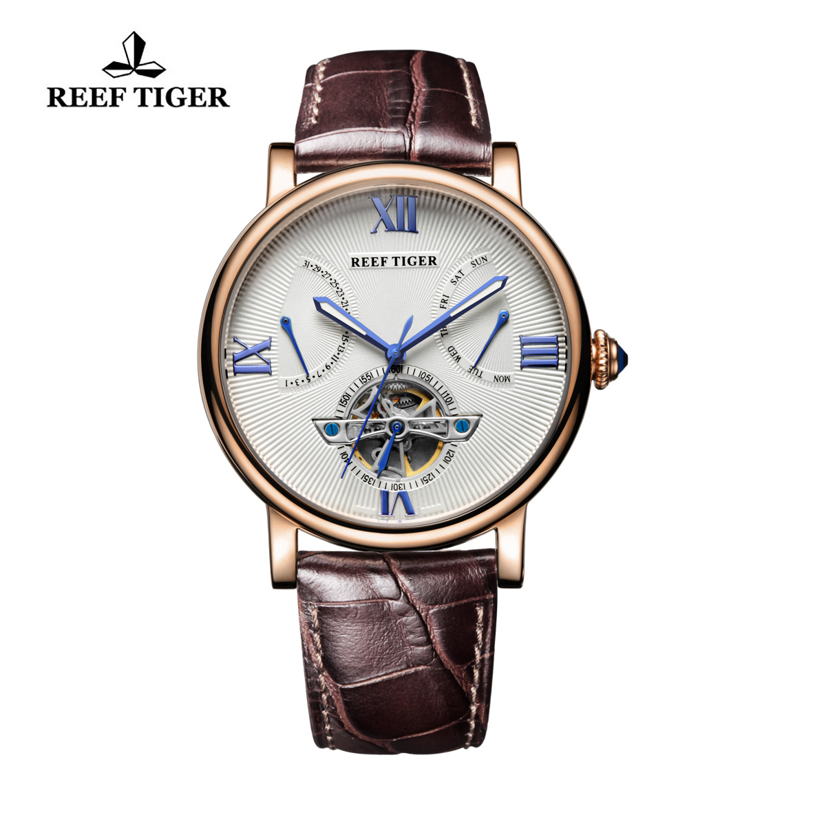 Reef Tiger Carved Spiral Tourbillon Watch with Day Date White Dial Calfskin Strap RGA191