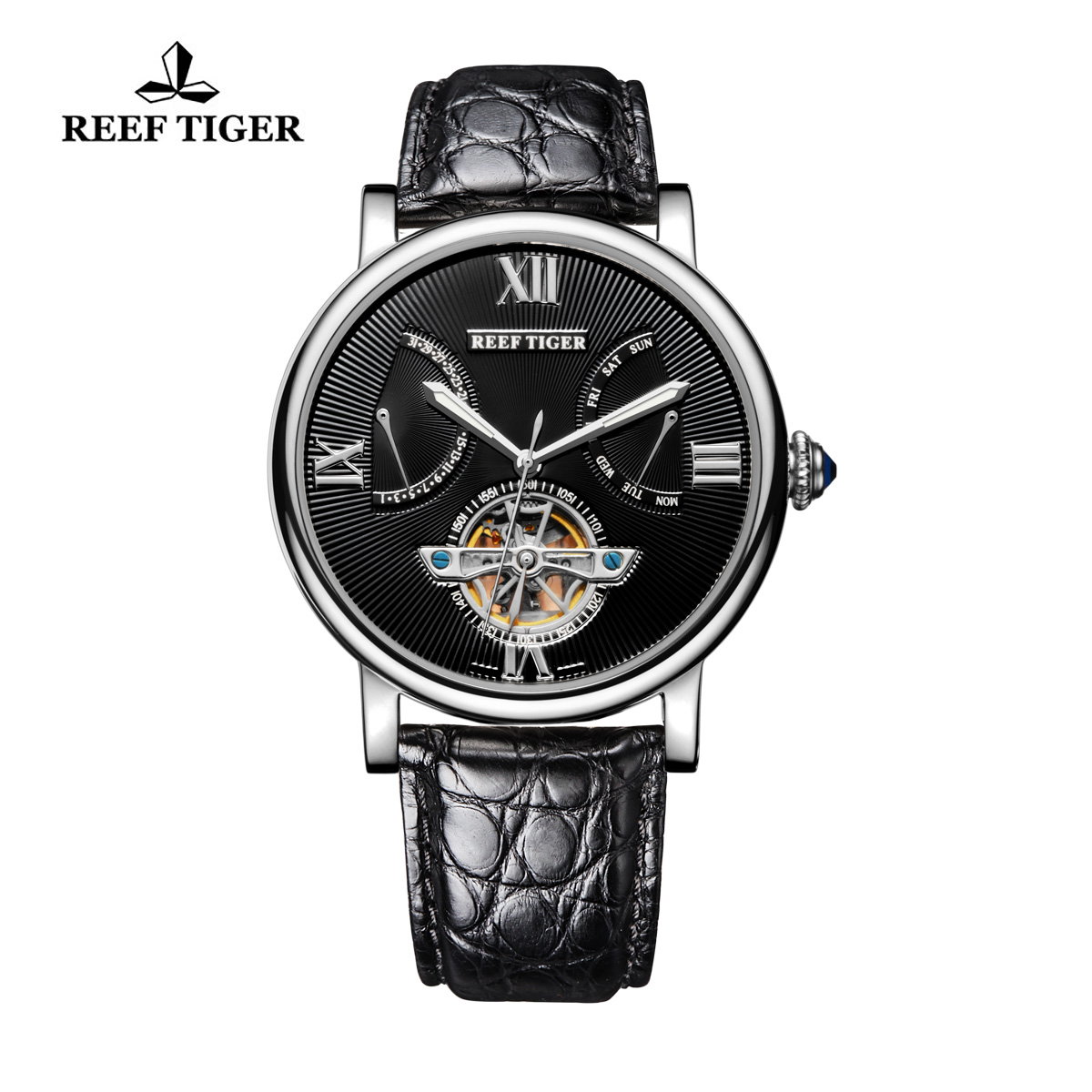 Reef Tiger Carved Spiral Tourbillon Watch with Day Date Steel Black Dial Alligator Strap RGA191