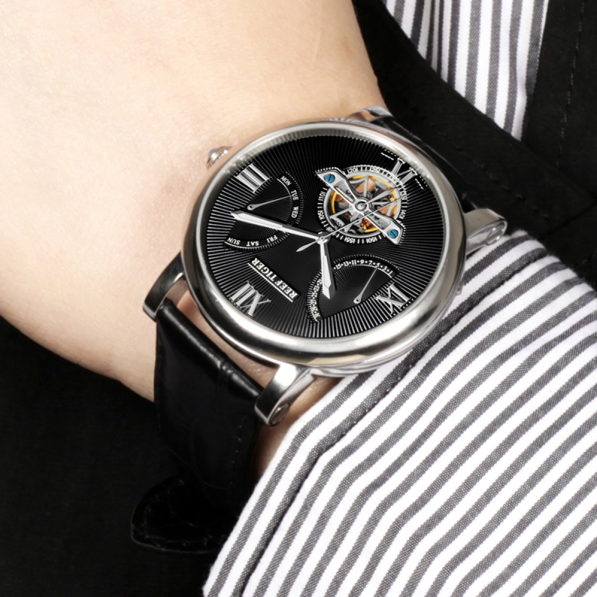 Reef Tiger Carved Spiral Tourbillon Watch with Day Date Steel Black Dial Calfskin Strap RGA191