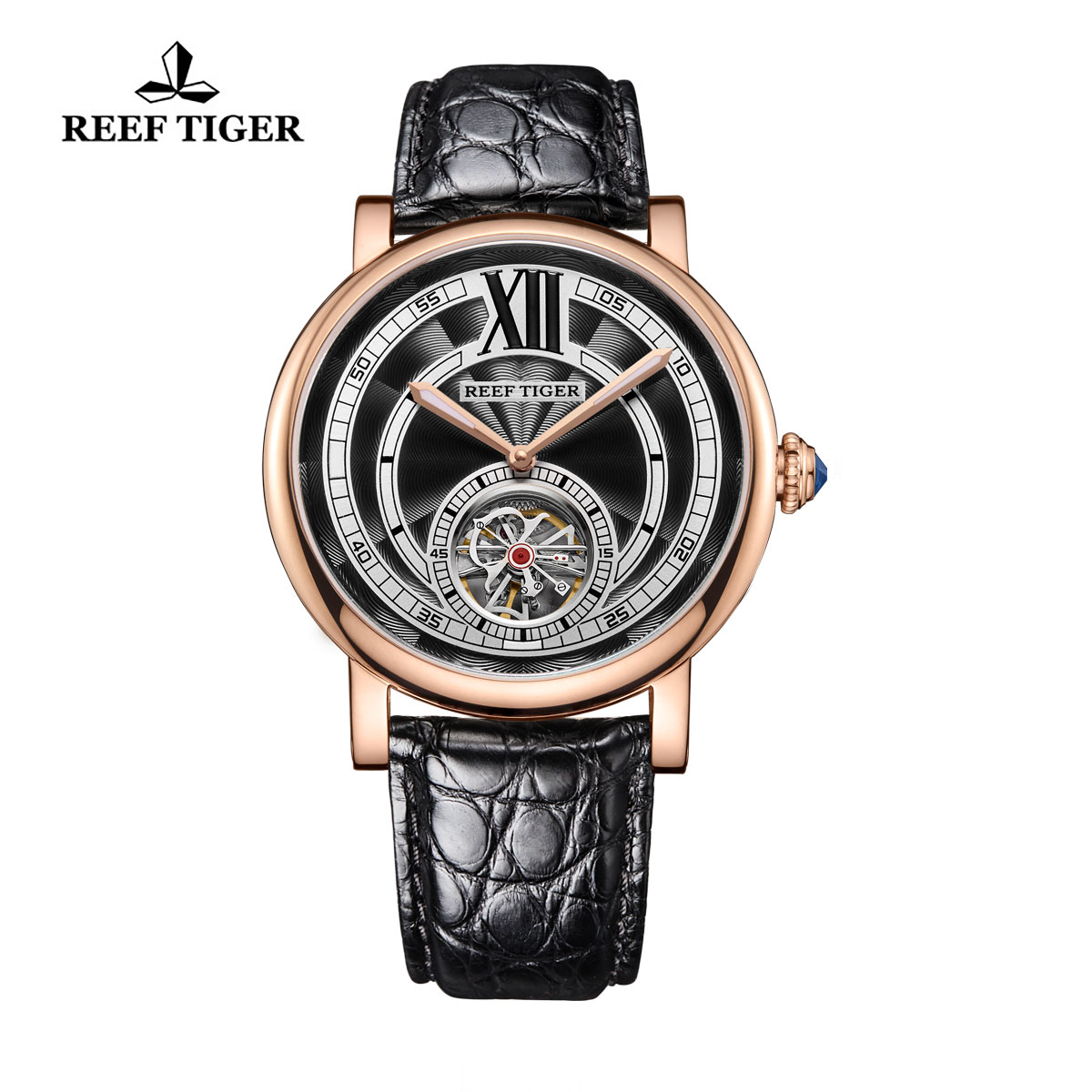 Reef Tiger Royal Crown Luxury Tourbillon Watches Rose Gold Blue Crystal Crown Alligator Strap RGA192