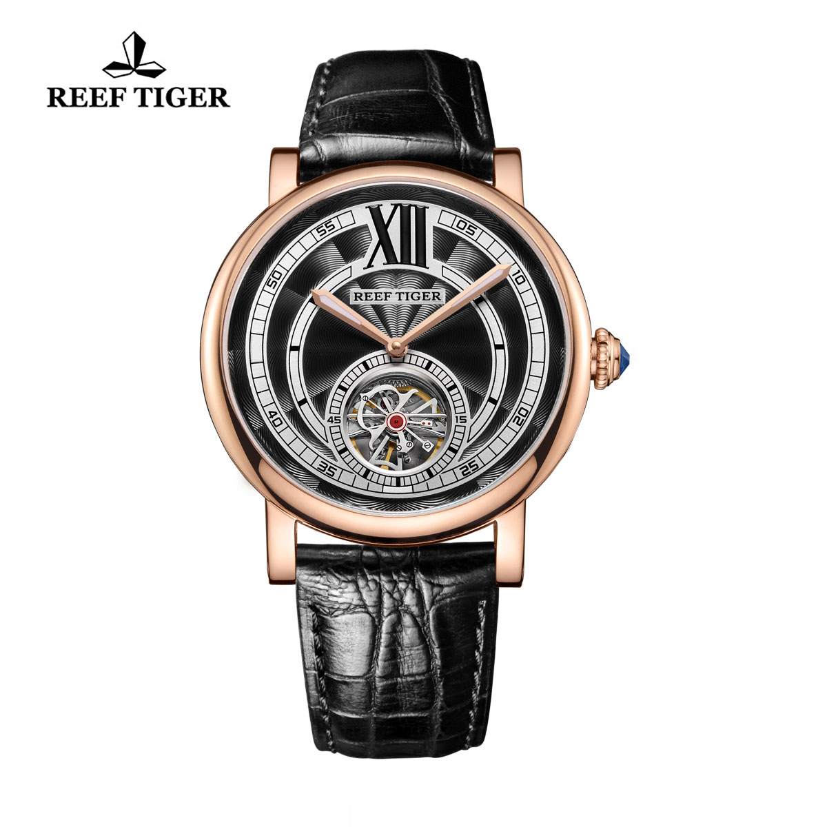 Reef Tiger Royal Crown Luxury Watch with Tourbillon Blue Crystal Crown Calfskin Leather RGA192