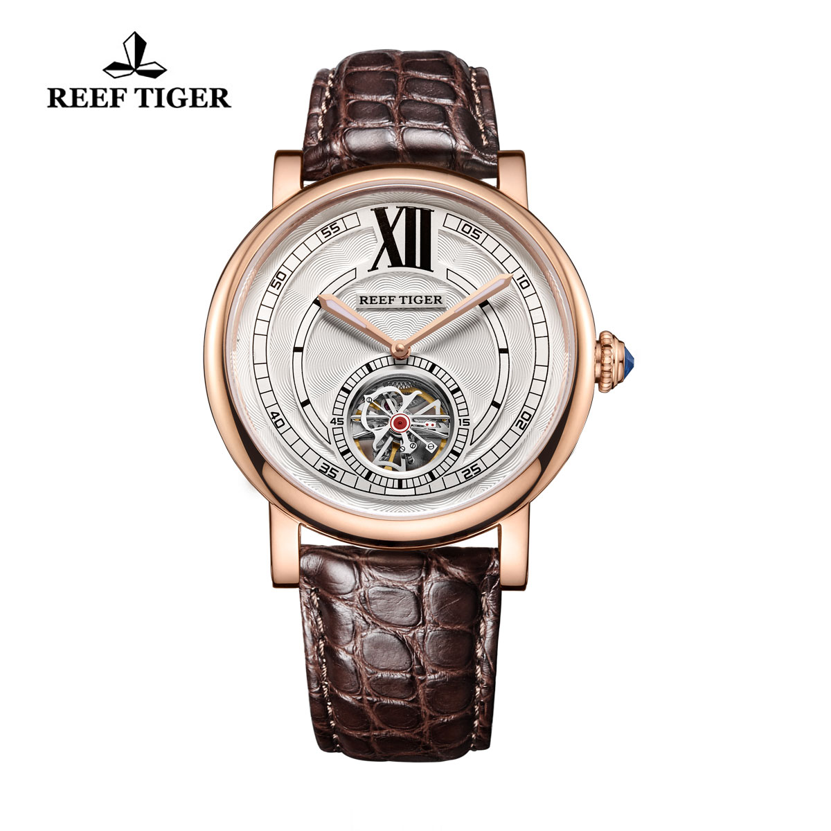 Reef Tiger Royal Crown Tourbillon Watches White Dial  Blue Crystal Crown Alligator Strap RGA192