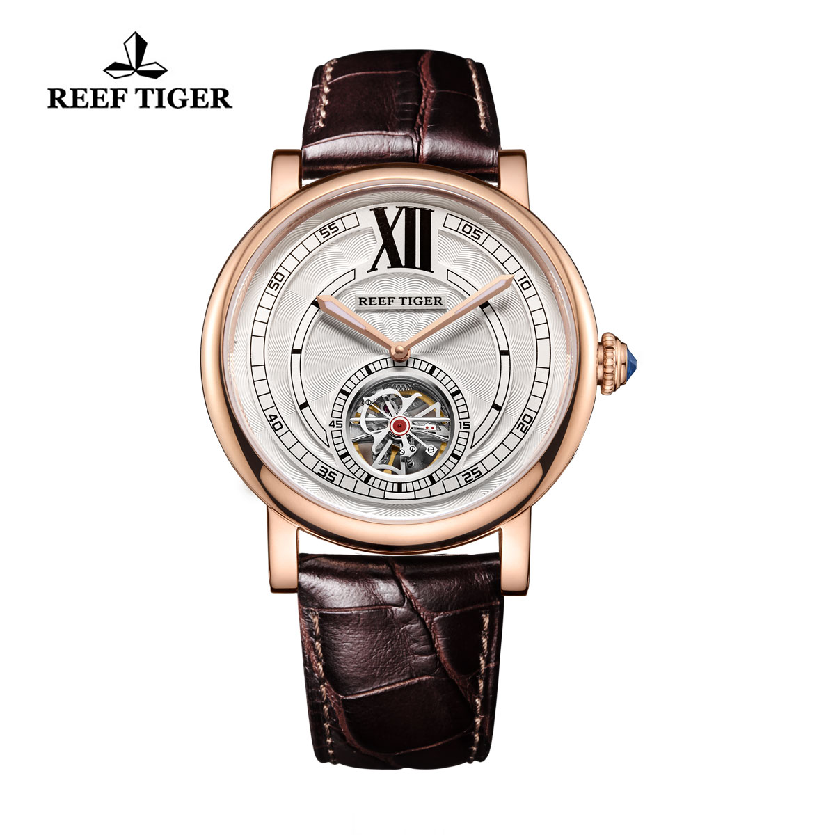 Reef Tiger Royal Crown Tourbillon Watch Luxury Rose Gold Case Calfskin Leather Strap RGA192