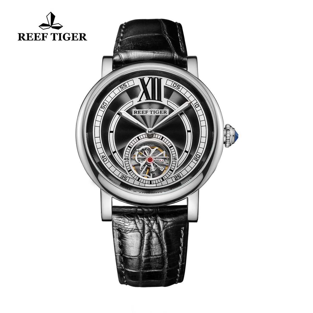 Reef Tiger Royal Crown Tourbillon Watches Blue Crystal Crown Calfskin Leather Strap RGA192