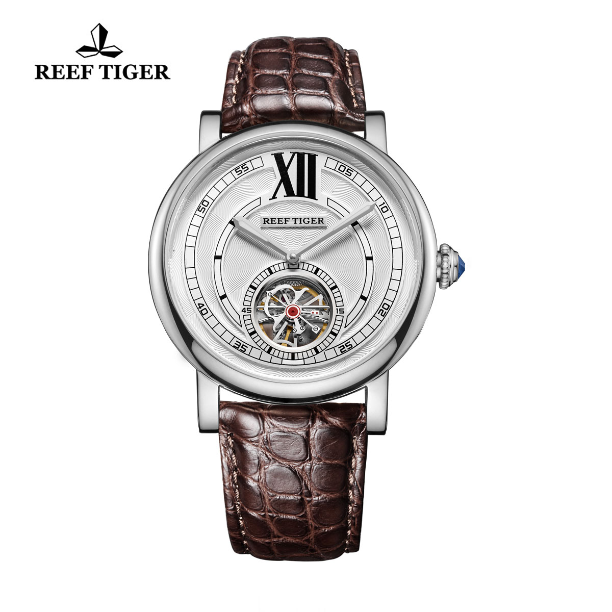 Reef Tiger Royal Crown Tourbillon Watches Steel Case White Dial Blue Crystal Crown RGA192