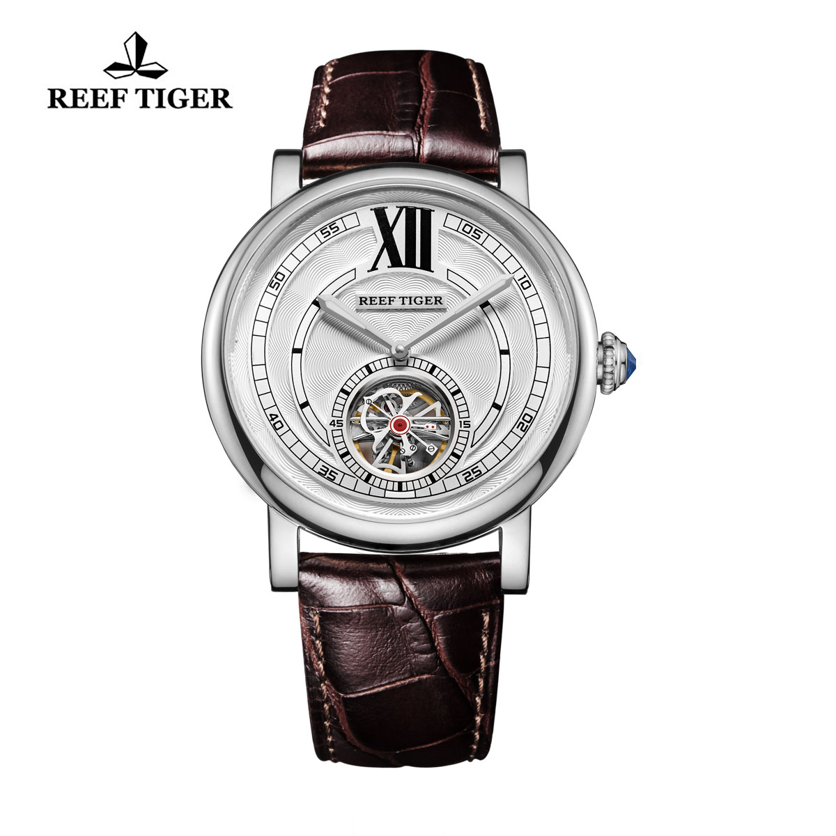 Reef Tiger Royal Crown Tourbillon Watches Steel Blue Crystal Crown Calfskin Leather Strap RGA192