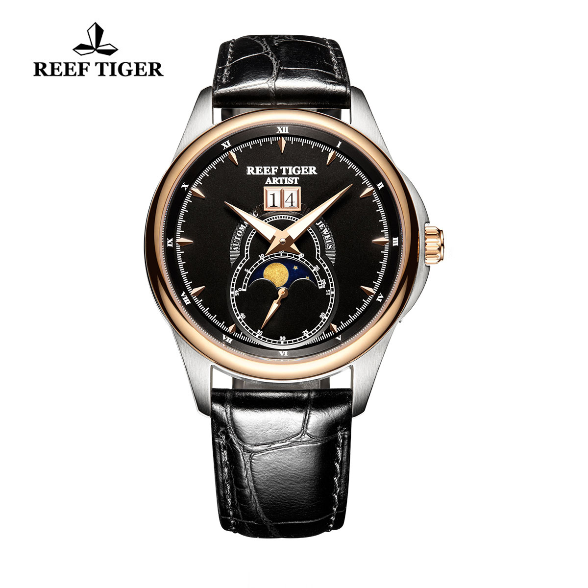 Reef Tiger Knighthood Casual Watch with Dual Calendar Black Dial Calfskin Leather RGA1928-PBB
