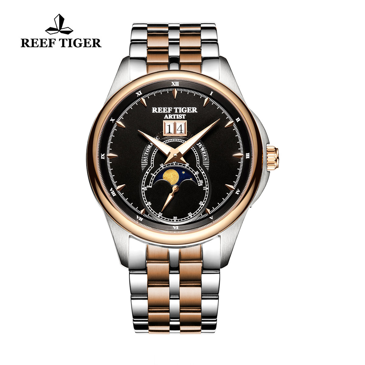 Reef Tiger Knighthood Casual Watch with Dual Calendar Black Dial Two Tone Case RGA1928-PBT