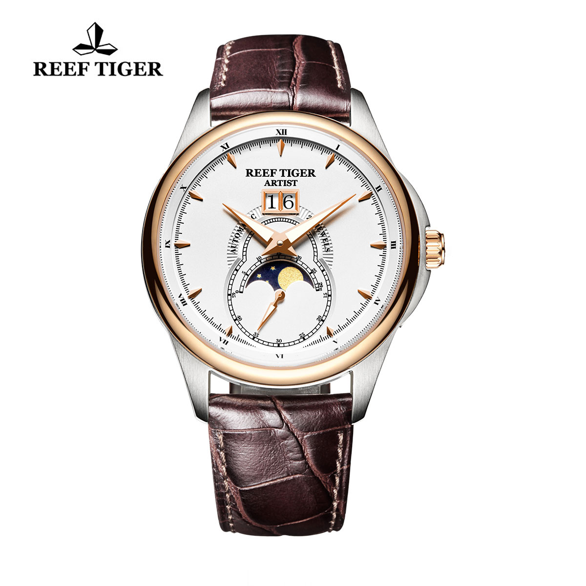 Reef Tiger Knighthood Casual Watch with Dual Calendar White Dial Calfskin Leather RGA1928-PWB