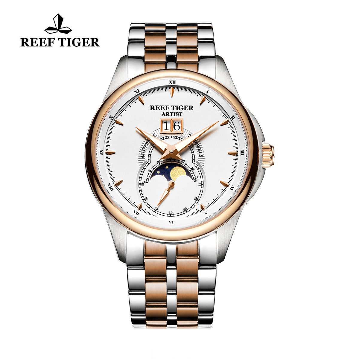 Reef Tiger Knighthood Casual Watch with Dual Calendar White Dial Two Tone Case RGA1928-PWT